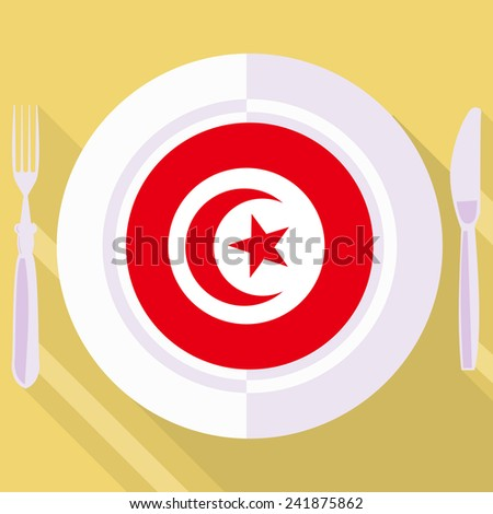 plate in flat style with flag of Tunisia - stock vector