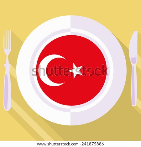 plate in flat style with flag of Turkey - stock vector