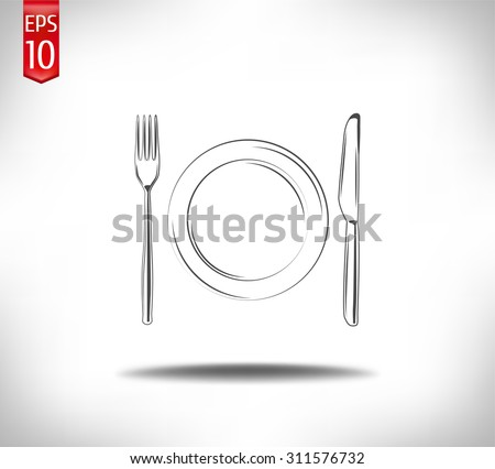 Plate knife and fork.