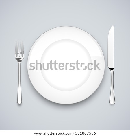 Plate, knife and fork, on gray background, vector