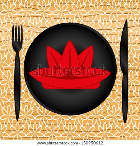 Plate, knife and fork, table setting, vector  - stock vector