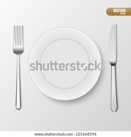 Plate knife and fork. Vector illustration.