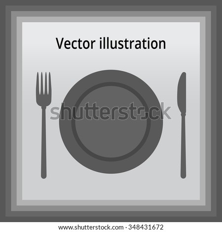 Plate, knife and fork. vector illustration icon