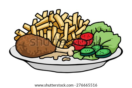 plate of food, chicken and chips vector illustration - stock vector