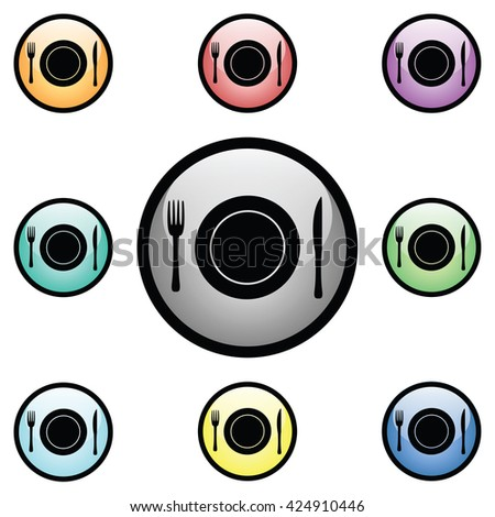 Plate Setting Icon Glass Button Icon Set - stock vector