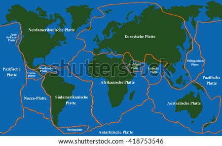 Plate tectonics - world map with fault lines of major an minor plates. GERMAN LABELING! Vector illustration. - stock vector