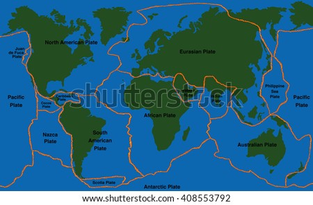 Tectonic Plates Stock Images RoyaltyFree Images Vectors - Plate tectonics map