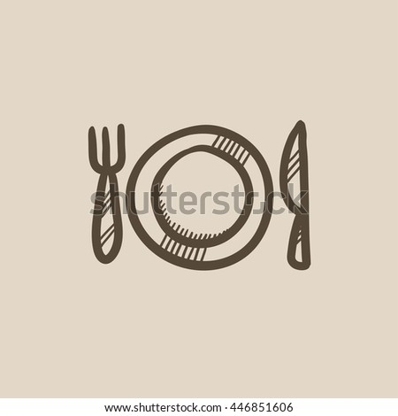 Plate with cutlery vector sketch icon isolated on background. Hand drawn Plate with cutlery icon. Plate with cutlery sketch icon for infographic, website or app. - stock vector