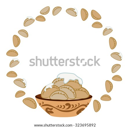 Plate with dumplings in a circle - stock vector