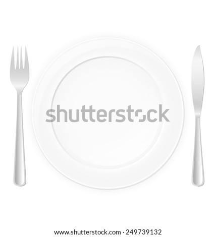 plate with fork and knife vector illustration isolated on white background - stock vector
