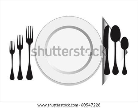 plate with fork, knife ,spoon vector - stock vector