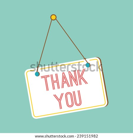 Plate with gratitude, hanging on the door. Thank you. - stock vector