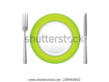 Plate with knife and fork. - stock vector