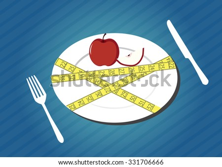 Plate with measuring tape apple fruit, diet theme, Vector illustration - stock vector