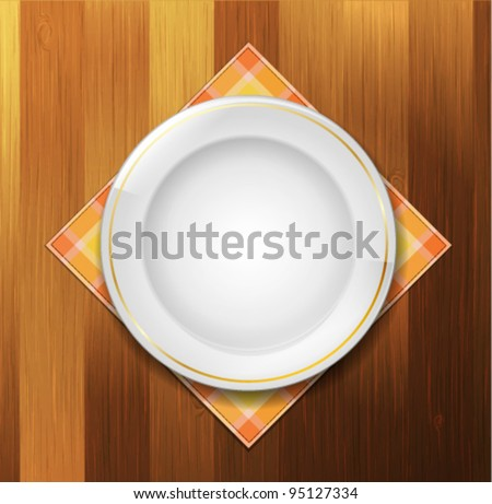 Plate with napkin on wood background - stock vector