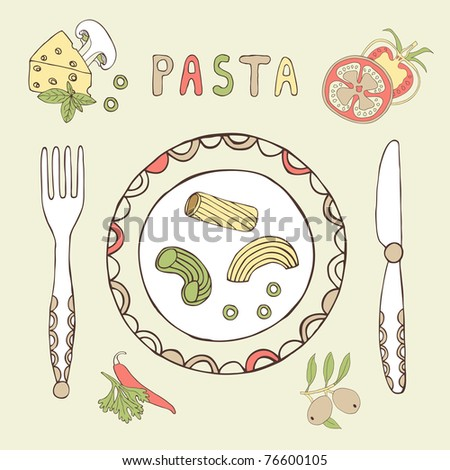 plate with pasta card - stock vector