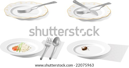 Plate with  plug, knife, spoon, rice and cockroach - stock vector