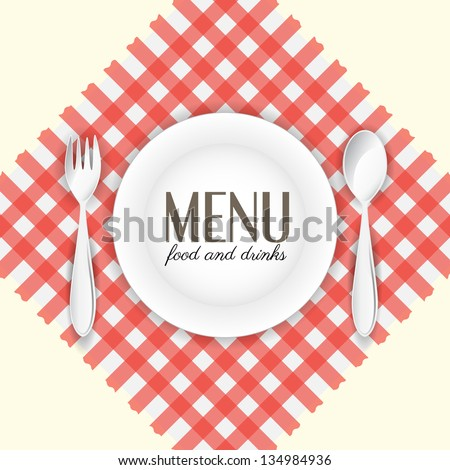 Plate with spoon and fork on red and white napkin - stock vector