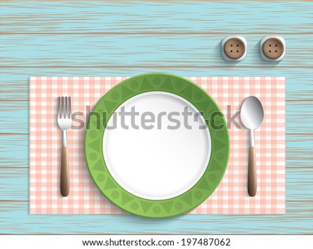 Plate with spoon and fork on vintage table - stock vector