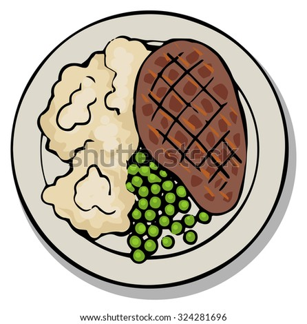 Plate with steak and mash, meal, top view, vector illustration isolated on white - stock vector