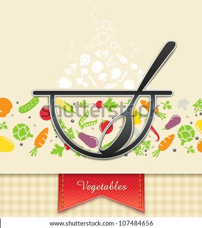 plate with vegetable, food background vector illustration EPS10. Transparent objects and opacity masks used for shadows and lights drawing - stock vector