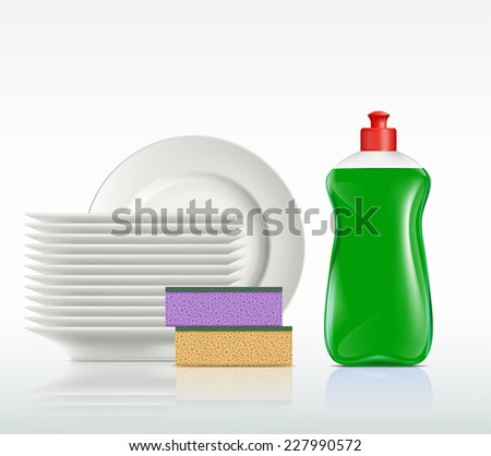 plates and a bottle with detergent isolated on white background - stock vector