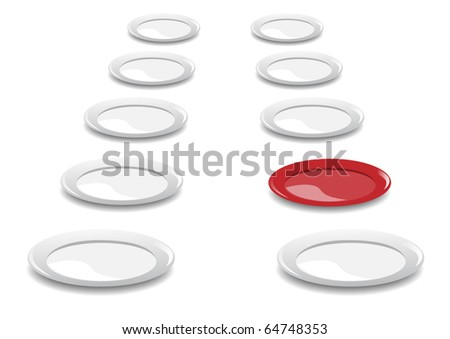 Plates on a white background - stock vector