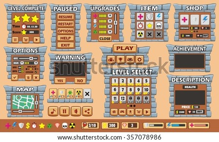 Platform Game User Interface For Tablet/ Illustration  of a platform game user interface, in cartoon style with  basic buttons and icons for tablet pc