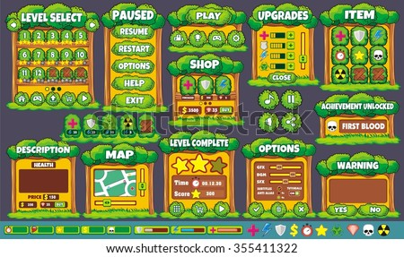 Platform Game User Interface For Tablet/ Illustration of a platform game user interface, in cartoon style with background and basic buttons for creating game and application - stock vector