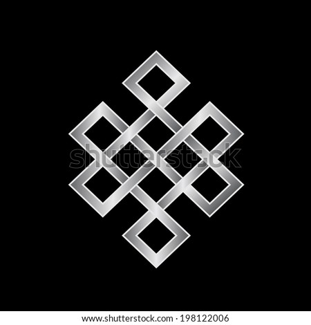 Platinum Endless knot. Concept of Karma, Time, spirituality. Vector icon - stock vector
