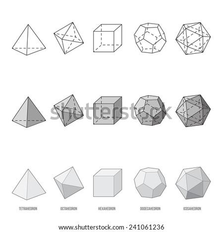 Platonic solids, vector illustration - stock vector