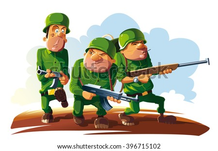 Platoon of three soldiers. Three armed soldier go on enemy territory. - stock vector