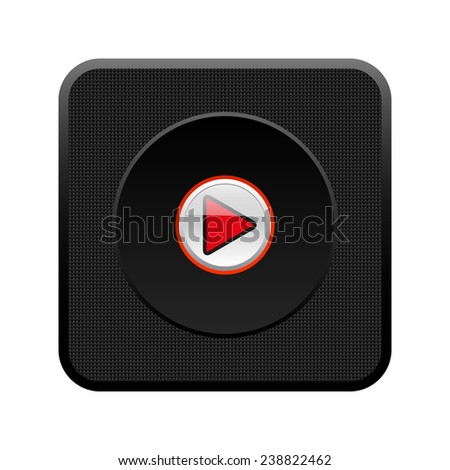play  black square plastic button, vector, EPS 10 - stock vector