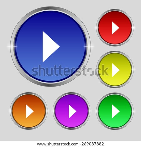 play button icon sign. Round symbol on bright colourful buttons. Vector illustration - stock vector