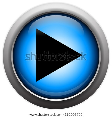 Play button on glassy orb - stock vector