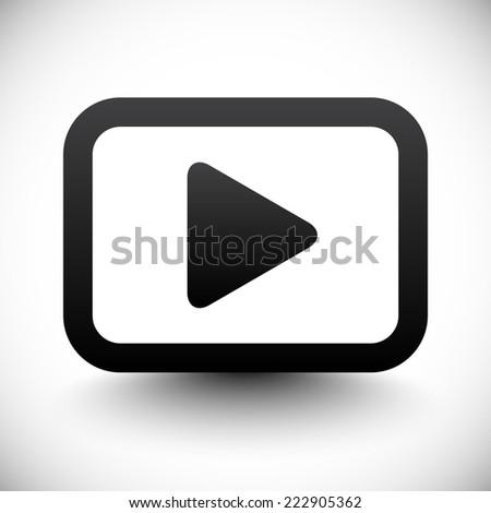 Play button pictogram w/ shadow - stock vector