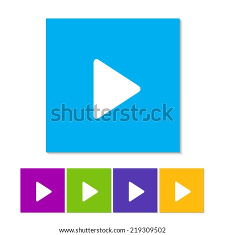Play button web icon. Orange, purple, magenta, violet, yellow, green and blue color buttons - stock vector