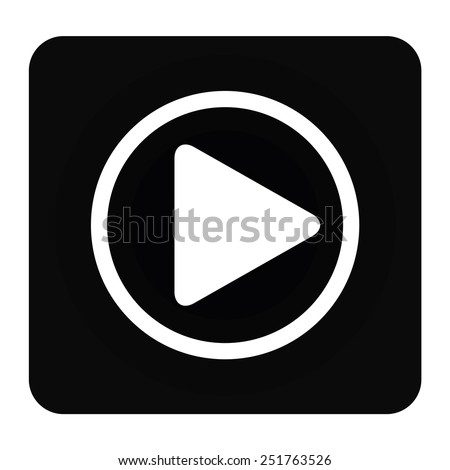 Play button web icon, vector illustration. Flat design style - stock vector