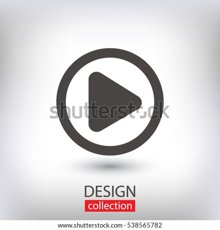 Play button web icon, vector illustration. Flat design style