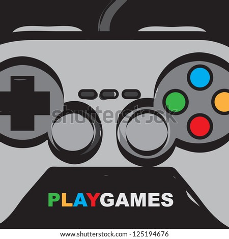 Play games over control background vector illustration - stock vector