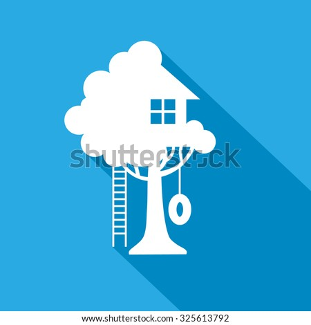 play house on the tree vector icon - stock vector