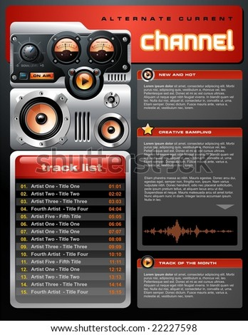 Play list layout - stock vector