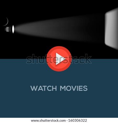 Play movie button, flat design, vector illustration.  - stock vector