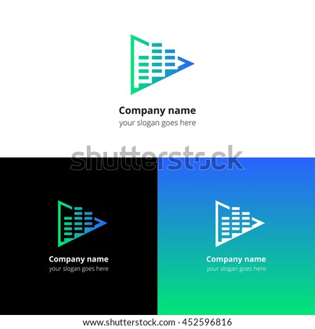 Play music sound and equalizer beat flat logo icon vector template. Abstract symbol and button with blue-green gradient for music service or company. - stock vector