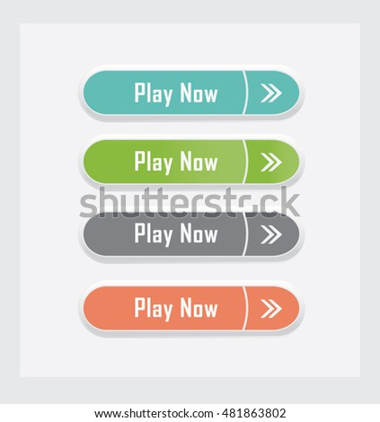 Play now. Set of vector web interface buttons. Color variations.
