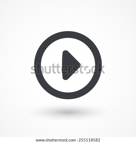 Play outlined circle player button icon - stock vector