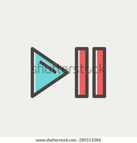 Play, pause button icon thin line for web and mobile, modern minimalistic flat design. Vector icon with dark grey outline and offset colour on light grey background. - stock vector