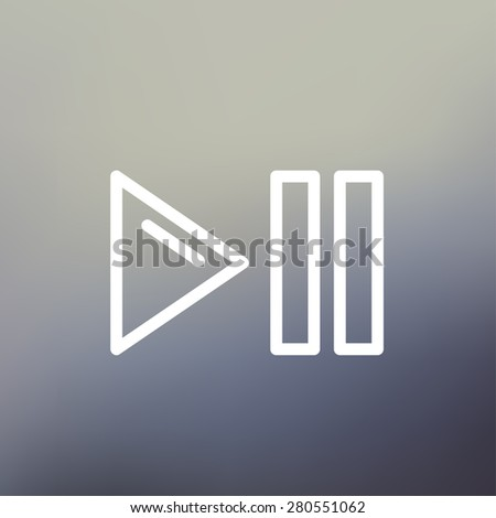 Play, pause button icon thin line for web and mobile, modern minimalistic flat design. Vector white icon on gradient mesh background. - stock vector