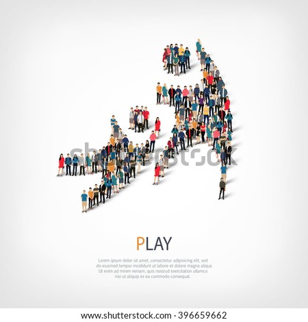 play people crowd - stock vector