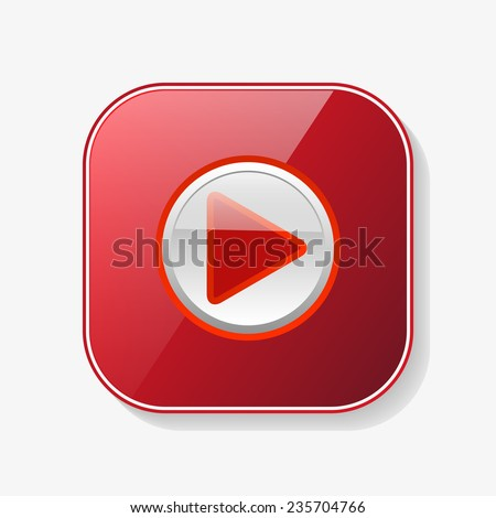 play red glossy button, vector - stock vector